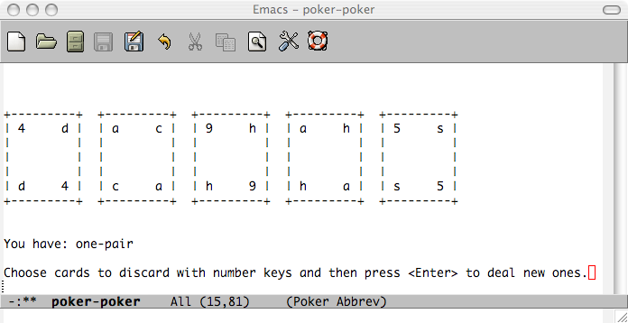 Emacs poker screenshot