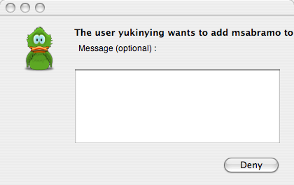 screenshot of Adium confirmation dialog with only a Deny button
