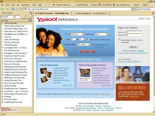 Yahoo! Search Sidebar screenshot